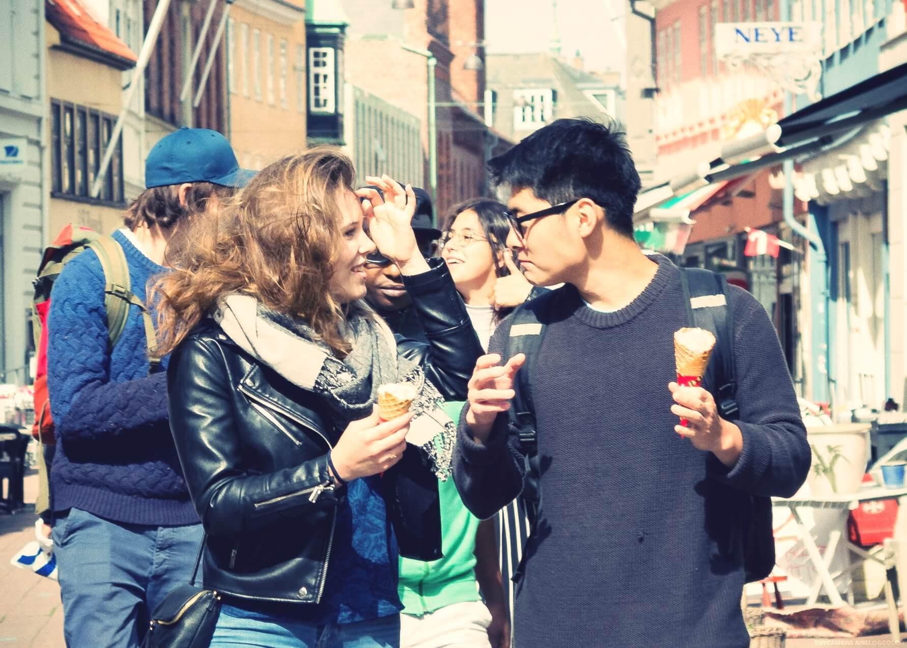 IPC - Eating Ice Cream in Helsingør aka Elsinore Folk High School in Denmark - International People's College