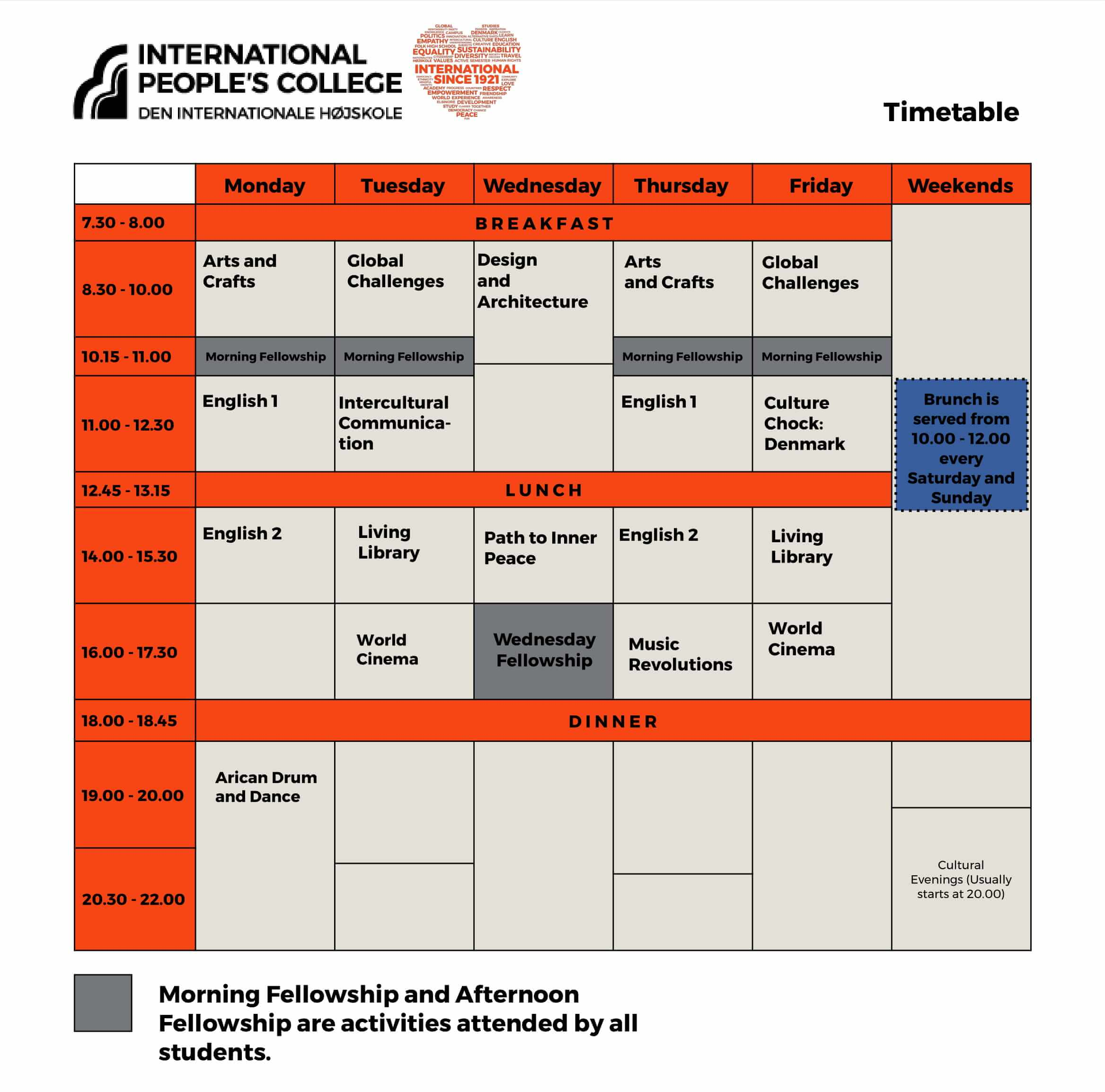 Folk High School Time Table at International People's College in Denmark - Amandeep