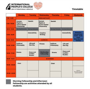 Folk High School Time Table at International People's College in Denmark - Charlotte Snell-1