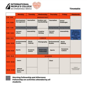 Folk High School Timetable at International People's College in Denmark - Tada Lee