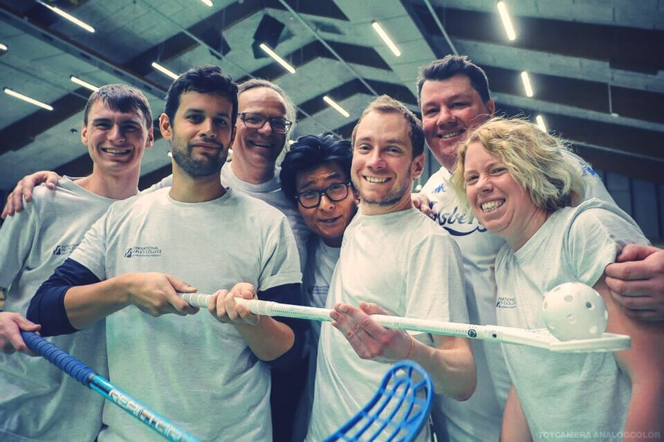 IPC - Folk High School Staff at International People's College in Denmark playing floorball