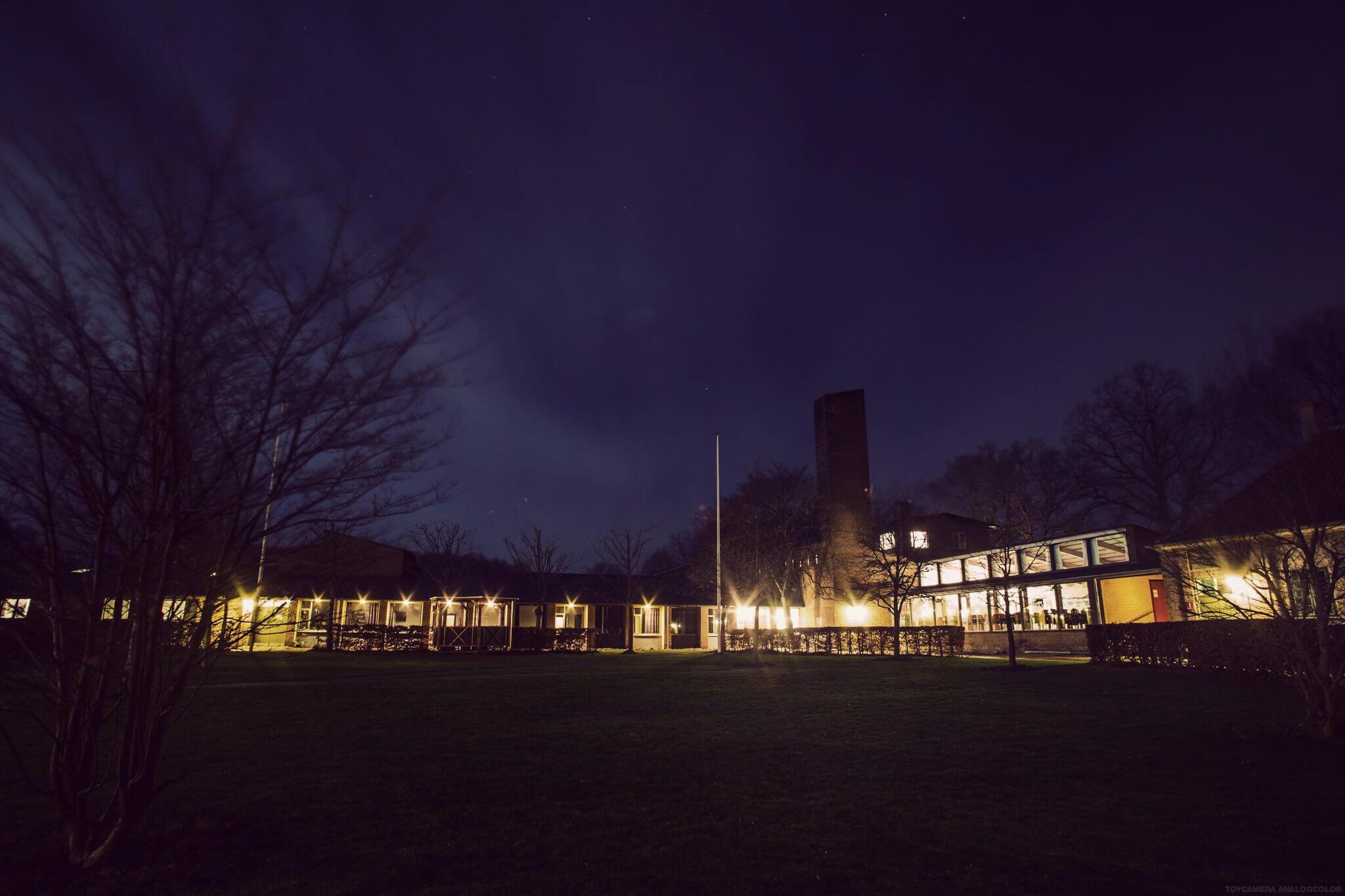 International People's College facilities at night - a folk high school in Denmark
