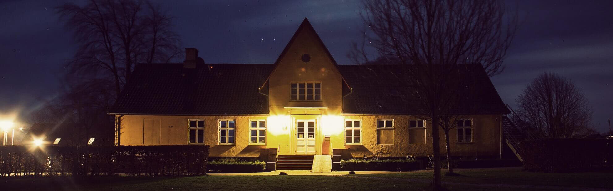 International People's College facilities at night - a folk high school in Denmark