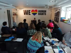 Leisure time activities at International People's College: human rights cafe
